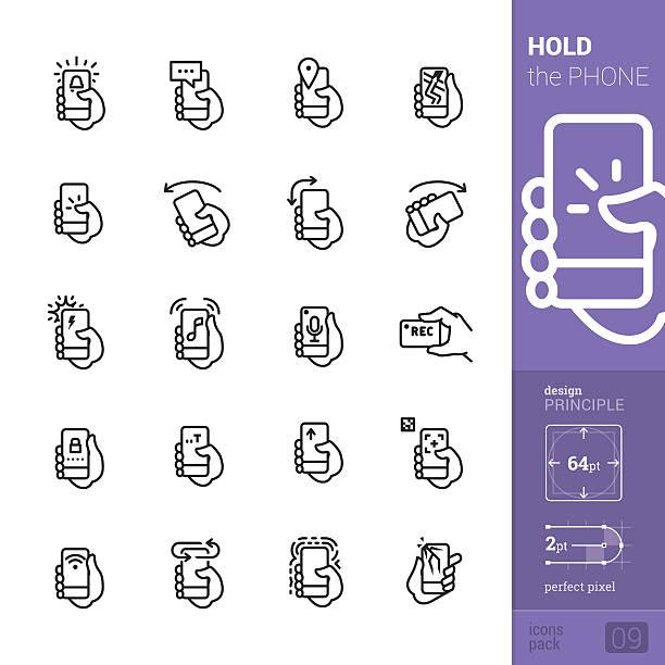 stockillustraties, clipart, cartoons en iconen met phone interaction vector icons - pro pack - draagbaarheid