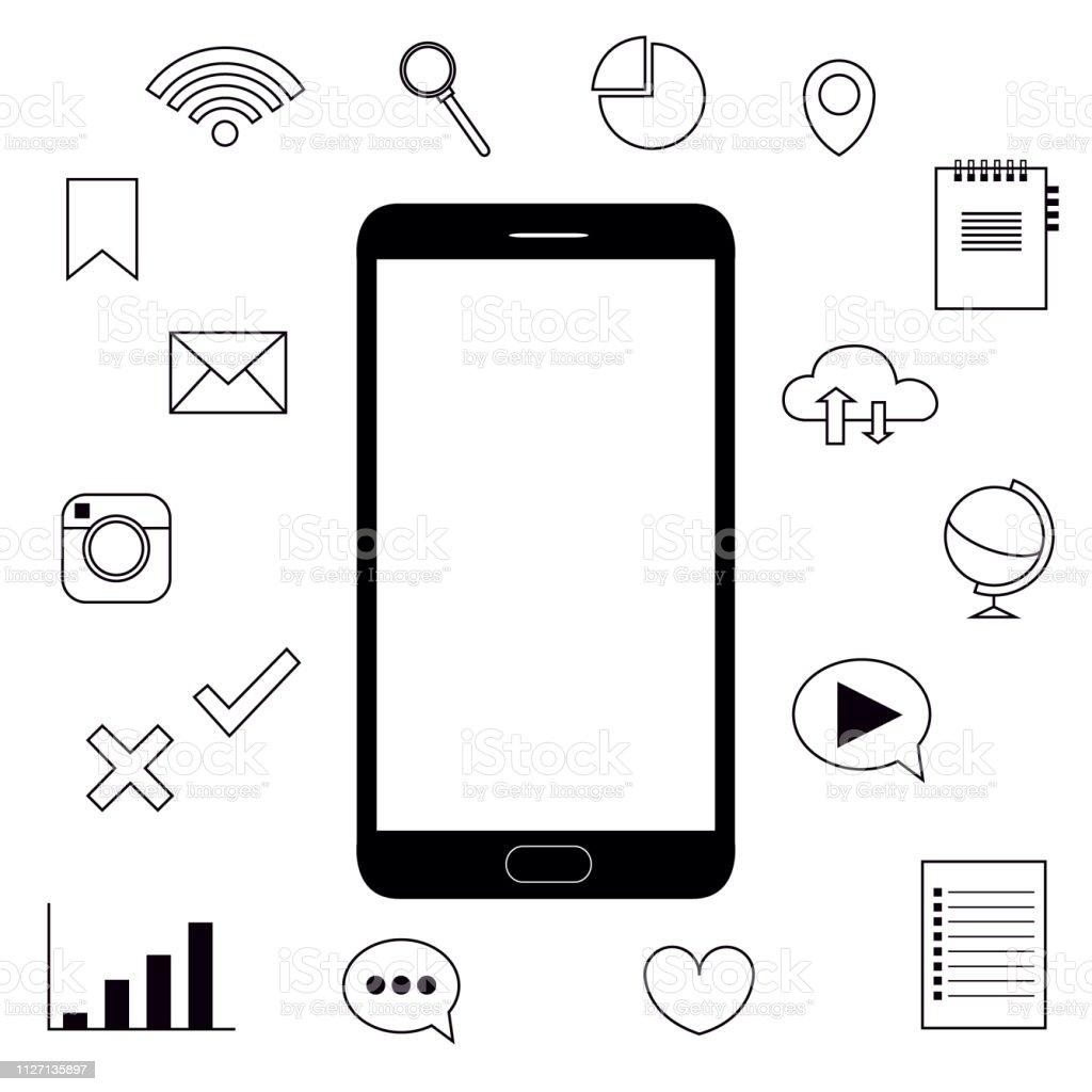 phone internet features icons objects vector illustration - Векторная графика Без людей роялти-фри