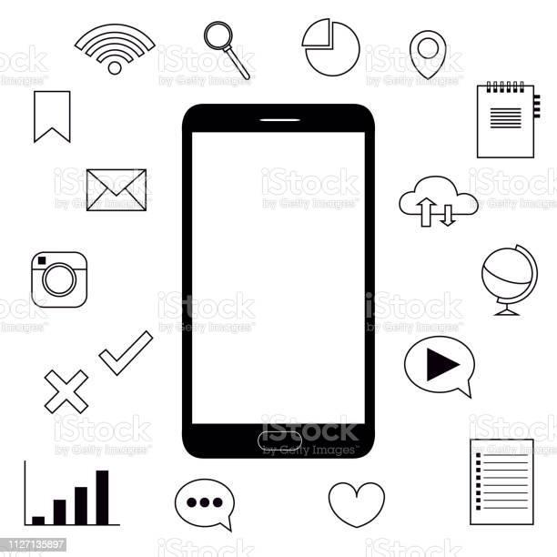 Phone Internet Features Icons Objects Vector Illustration — стоковая векторная графика и другие изображения на тему Без людей