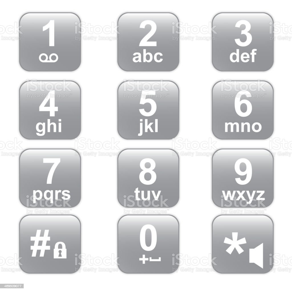 phone keypad, gray telephone buttons vector art illustration