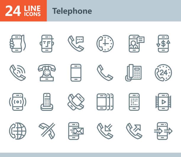 Phone - line vector icons vector art illustration