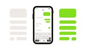 istock Phone Message Template. Social network chat page template. Message chat bubbles vector icons. Vector on an isolated white background. EPS 10 1300000921