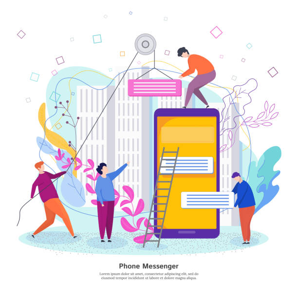 Phone messenger development concept. Process of developing a mobile chat Phone messenger development concept. Process of developing a mobile chat interface. Young men collect chat bubbles mobile application test drive stock illustrations