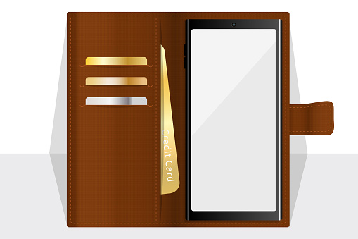 Phone mockup with brown foldable leather case with card holder