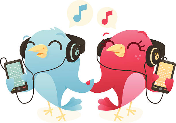 Phone Music Birds vector art illustration