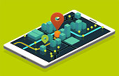 isometric phone navigation