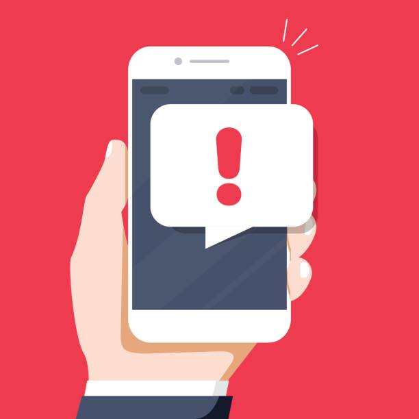 Phone notifications, new message received concepts. Hand holding smartphone with speech bubble vector art illustration