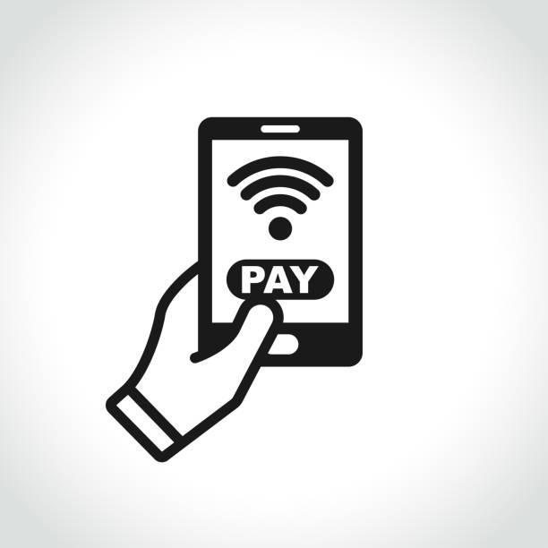 stockillustraties, clipart, cartoons en iconen met betaling telefoonpictogram op witte achtergrond - mobiele betaling