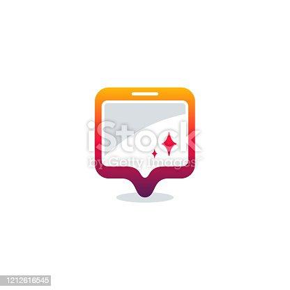 istock Phone Point logo designs vector, Mobile Place logo template vector 1212616545