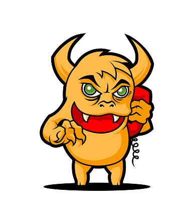Phone prank troll with handset cartoon monster character