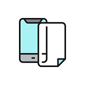 Vector phone protective film screen protector flat color line icon. Symbol and sign illustration design. Isolated on white background