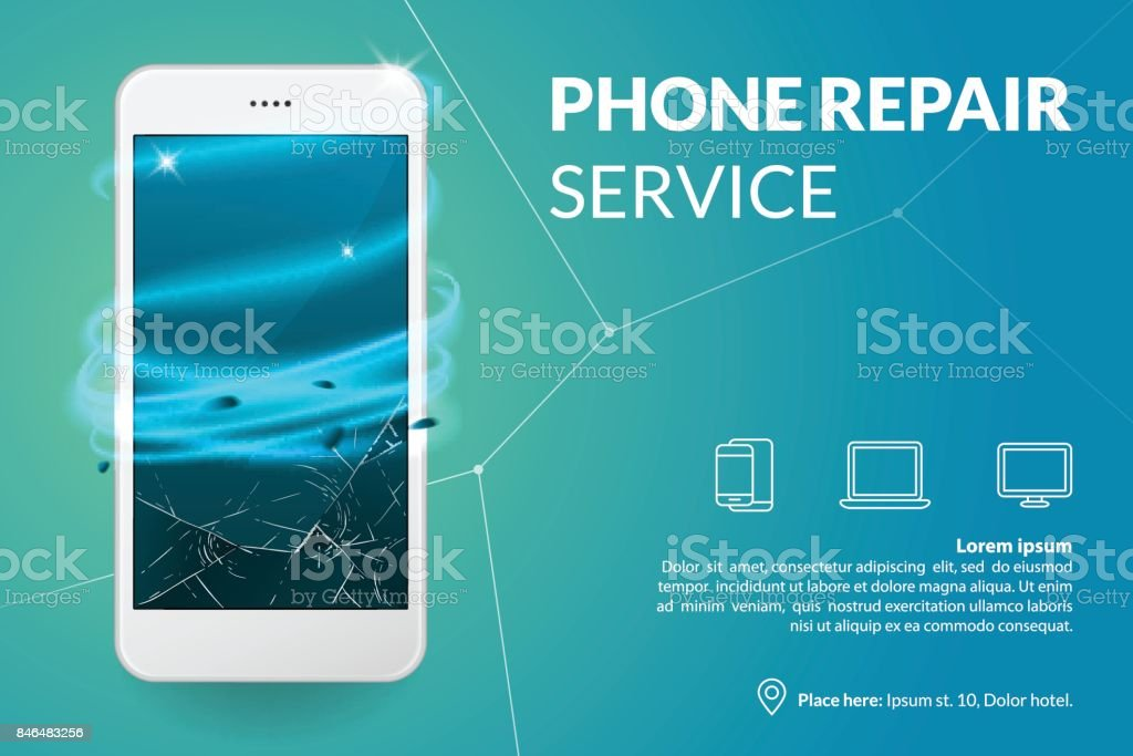 Phone repair service banner template. Smartphone with broken screen on blue background. Repairing electronics. Advertising concept. Vector eps 10. vector art illustration