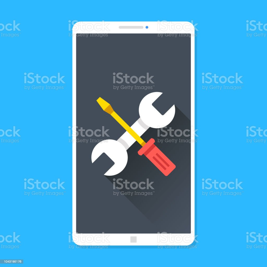 Phone repair, smartphone maintenance. Wrench and screwdriver on mobile phone screen. Technical support, settings, technical issues concepts. Modern flat design. Vector illustration vector art illustration