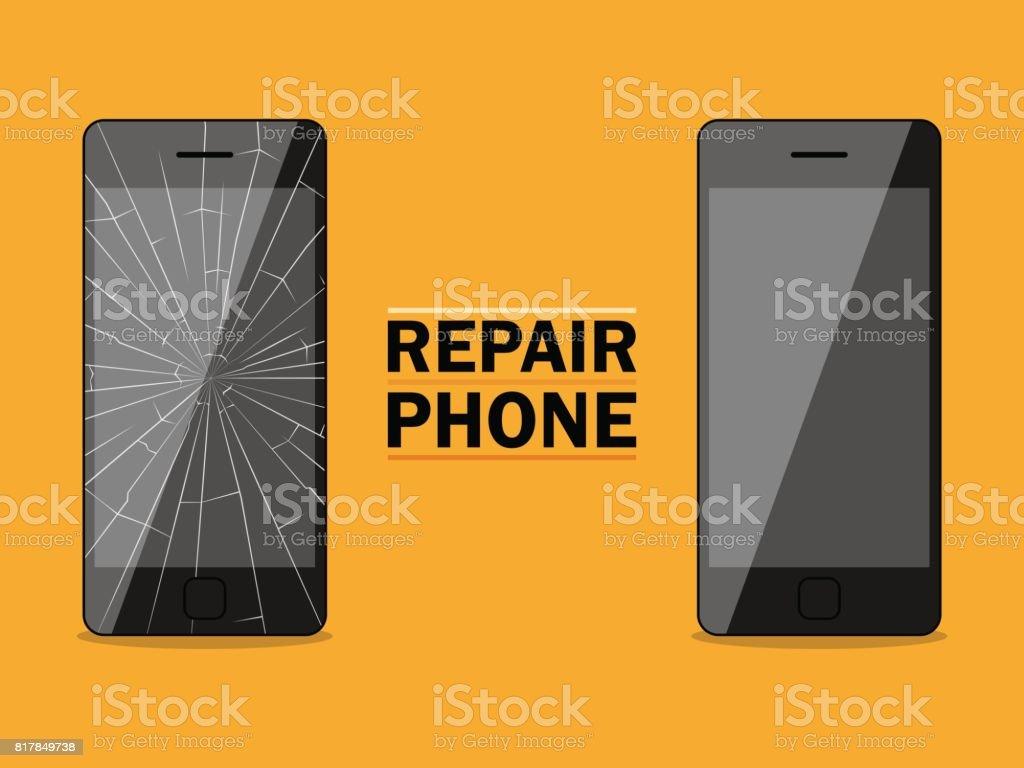 Phone repairs flat design sign. Vector illustration vector art illustration