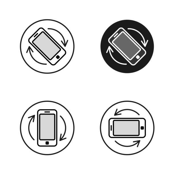 phone rotate symbols set. smartphone rotation icon - przekręcać stock illustrations