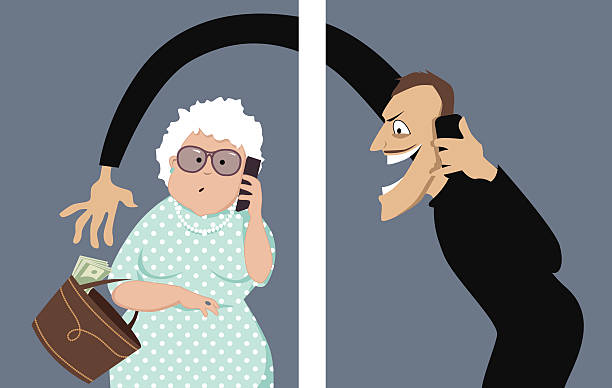 Phone scam Scammer talks on a phone with a senior woman and trying to steal money out of her purse, vector illustration, no transparencies, EPS 8 dishonesty stock illustrations