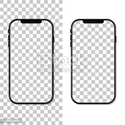 istock Phone screen. Frame and template of cellphone isolated on transparent background. Smartphone mockup. Cellphone with blank display. Vertical desktop. Realistic 3d 6,7 ui for app, background. Vector 1250626051