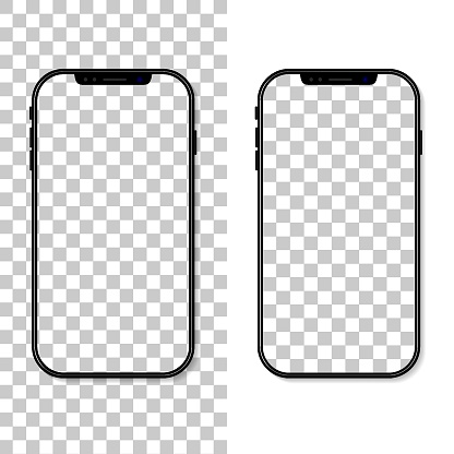 Phone screen. Frame and template of cellphone isolated on transparent background. Smartphone mockup. Cellphone with blank display. Vertical desktop. Realistic 3d 6,7 ui for app, background. Vector