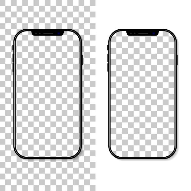 illustrazioni stock, clip art, cartoni animati e icone di tendenza di phone screen. frame and template of cellphone isolated on transparent background. smartphone mockup. cellphone with blank display. vertical desktop. realistic 3d 6,7 ui for app, background. vector - iphone