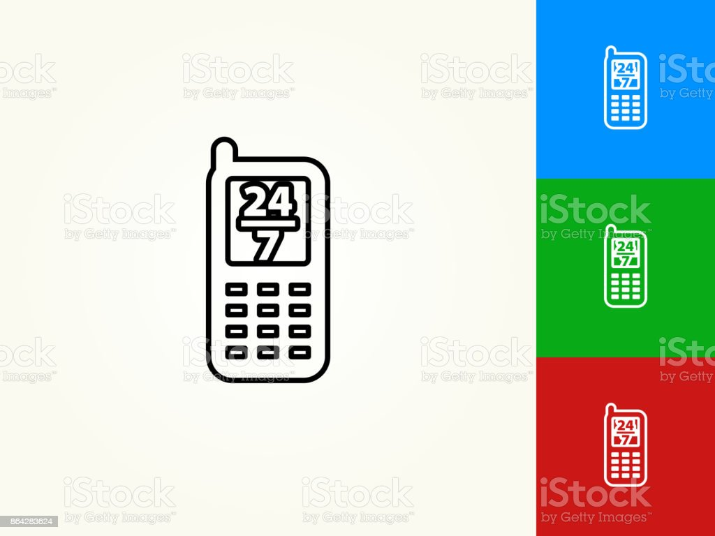 Phone Service Black Stroke Linear Icon royalty-free phone service black stroke linear icon stock vector art & more images of 24-7
