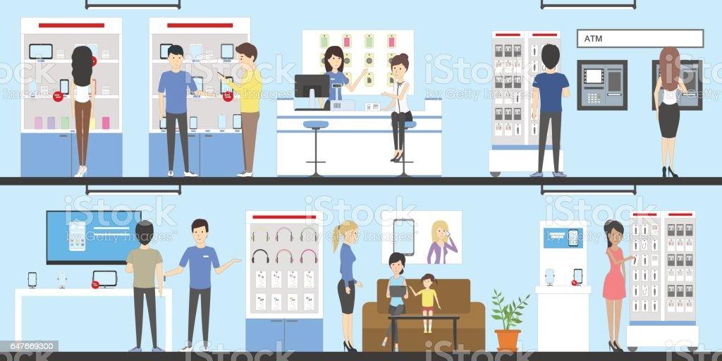Phone store interior set. vector art illustration