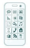 Phone stylish menu with icons, vector illustration