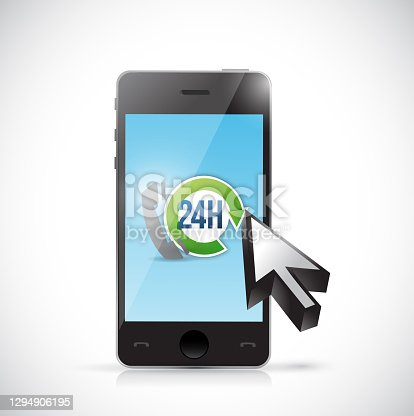 24 7 phone support illustration design over a white background