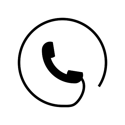 Phone symbol of an auricular with circular cord around icon vector icon. Simple element illustration. Phone symbol of an auricular with circular cord around symbol design. Can be used for web and mobile.