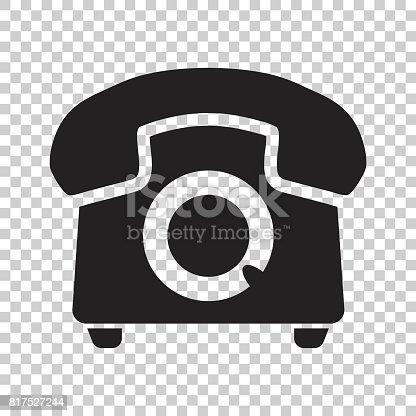 Phone Vector Icon Old Vintage Telephone Symbol Illustration Stock