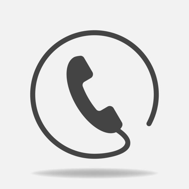 Phone vector icon on flat style. Handset with shadow. Easy editing of illustration. vector art illustration
