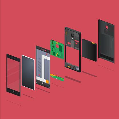 Ilustración de Teléfono y más Vectores Libres de Derechos de Batería