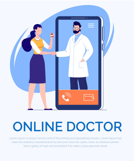 phone video call to the doctor through the application on the smartphone online medical advice concept - telemedicine stock illustrations