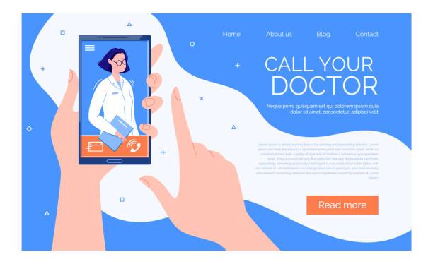 ilustraciones, imágenes clip art, dibujos animados e iconos de stock de videollamada telefónica al médico a través de la aplicación en el concepto de asesoramiento médico en línea de smartphone - telehealth