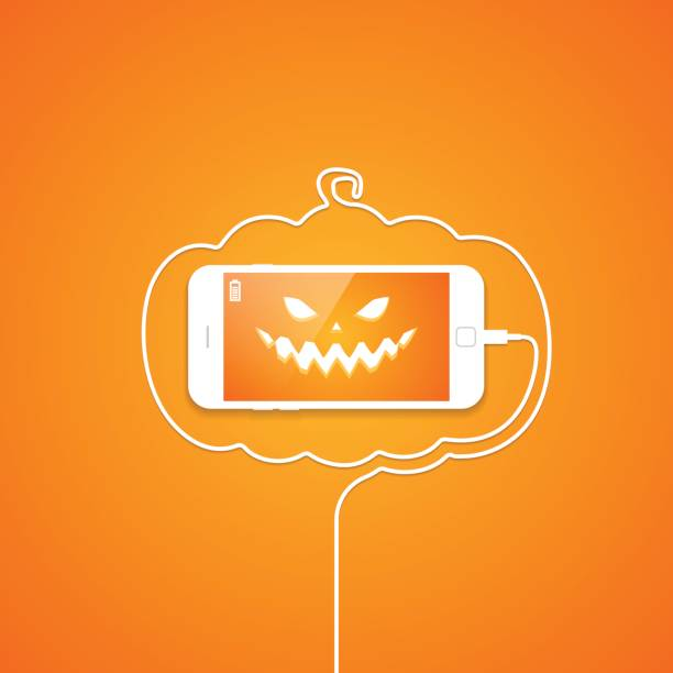 Phone, wire, halloween, pumpkin, evil face. Evil face on the smartphone screen. Telephone wire in the form of a pumpkin contour. Holiday Halloween. Vector illustration cell phone charger stock illustrations