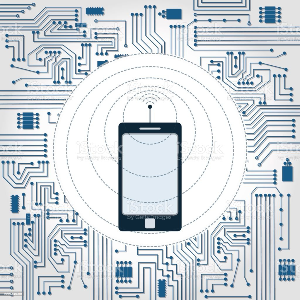 Phone Wireless Wave And Electronics Circuit Stock Vector Art Electronic Design Process Royalty Free