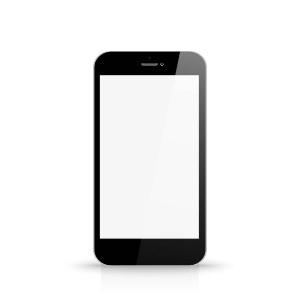 Phone with blank white screen front view Phone with blank white screen front view cyborg stock illustrations
