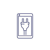 istock phone with electric plug on screen line icon 1283050930