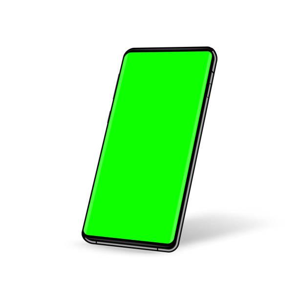 stockillustraties, clipart, cartoons en iconen met telefoon met groene schermchromesleutelachtergrond. sjabloon voor uw ontwerp - green screen