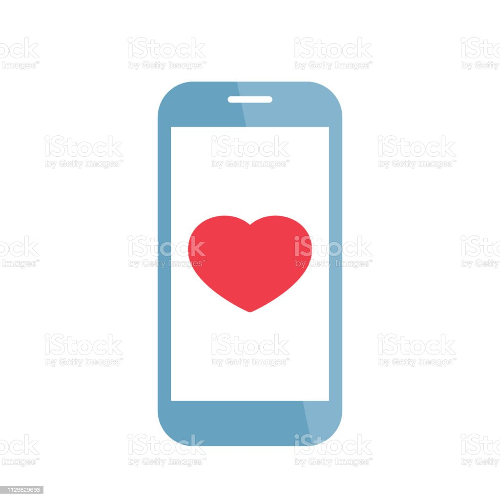 Phone with heart icon. Social media like sign. Smartphone Love...