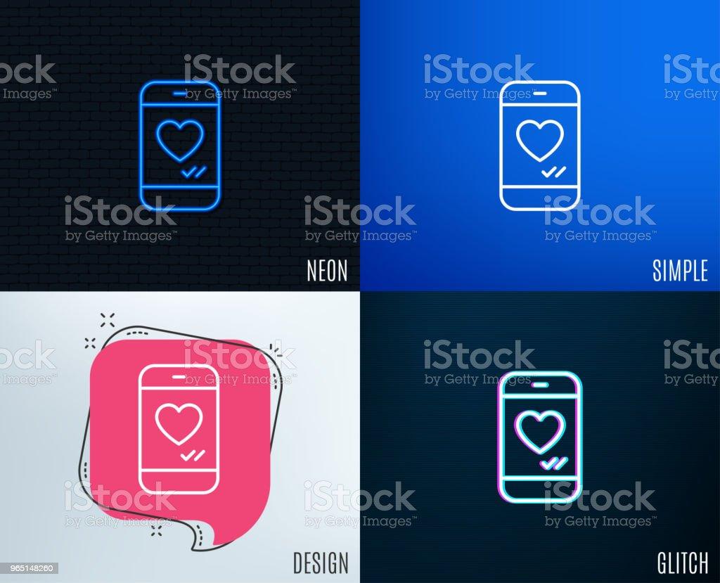 Phone with heart line icon. Social media like. phone with heart line icon social media like - stockowe grafiki wektorowe i więcej obrazów aplikacja mobilna royalty-free