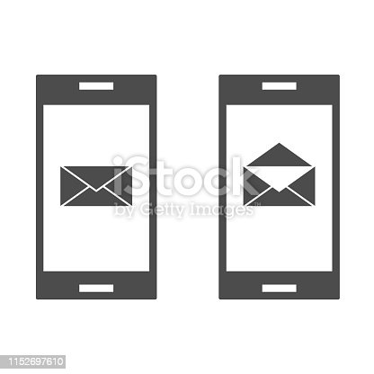 Phones with message icon. Chat sign, contact concept Vector