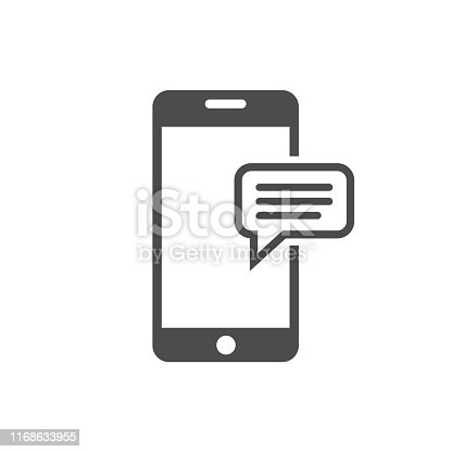 Message icon template. Phone with chat message icon