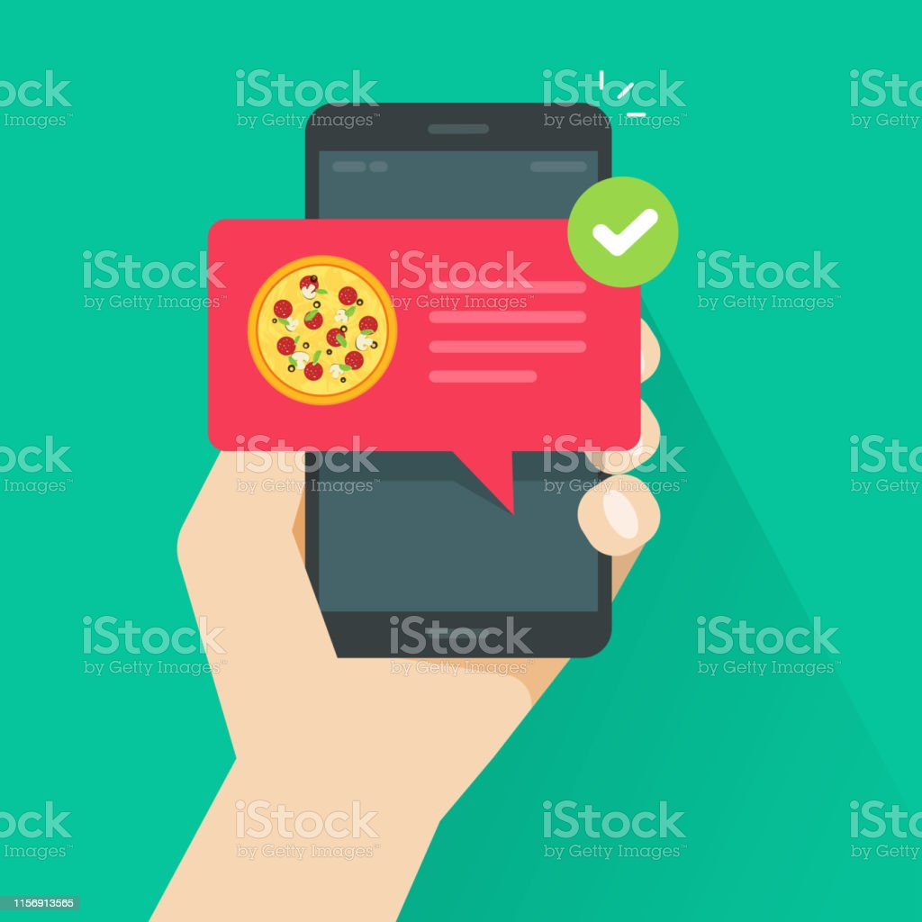 Phone with pizza on screen vector illustration, flat cartoon cellphone with food delivery notification, smartphone with bubble speech and tick image - Grafika wektorowa royalty-free (Aplikacja mobilna)