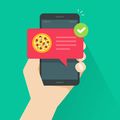 Phone with pizza on screen vector illustration, flat cartoon cellphone with food delivery notification, smartphone with bubble speech and tick
