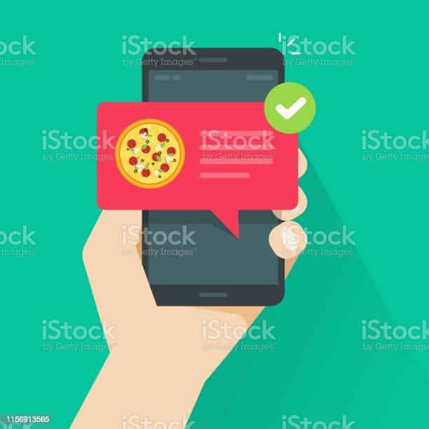 Phone With Pizza On Screen Vector Illustration Flat Cartoon Cellphone With Food Delivery Notification Smartphone With Bubble Speech And Tick Image - Stockowe grafiki wektorowe i więcej obrazów Aplikacja mobilna