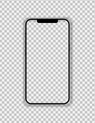 Phone with thin black frame and blank screen on transparent backgtound. Front view. Vector isolated illustration for presentation, ui ux design.