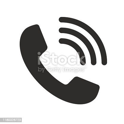 istock Phone with waves symbol icon - black simple, isolated - vector stock illustration 1180028723