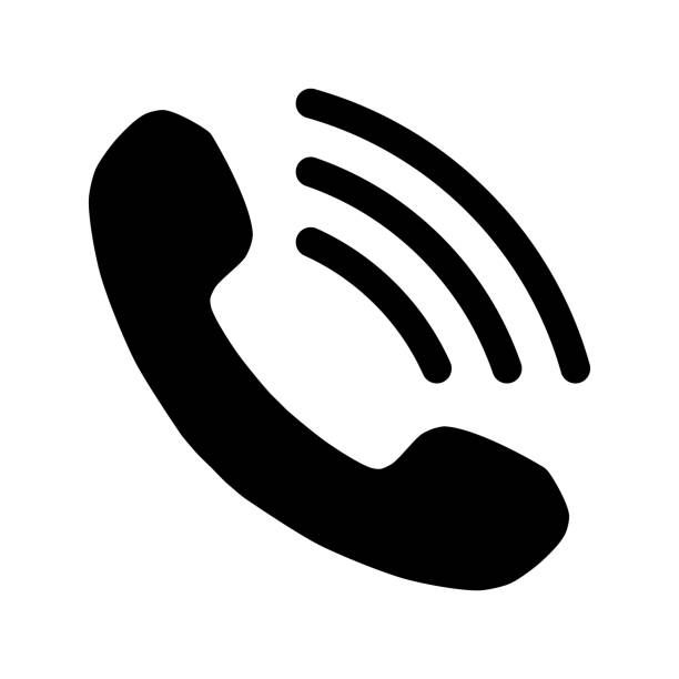 phone with waves symbol icon - black simple, isolated - vector - telefon stock illustrations