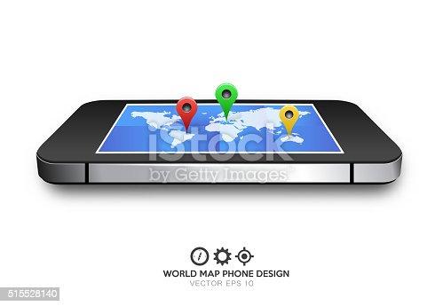 610119450 istock photo phone world map gps vector 515528140