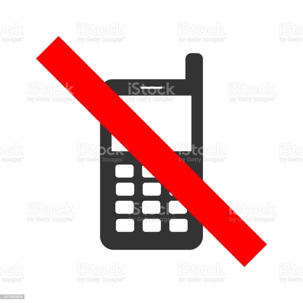 No Cell Phones Allowed Crossed Out Sign Mobile Phone Silhouette With